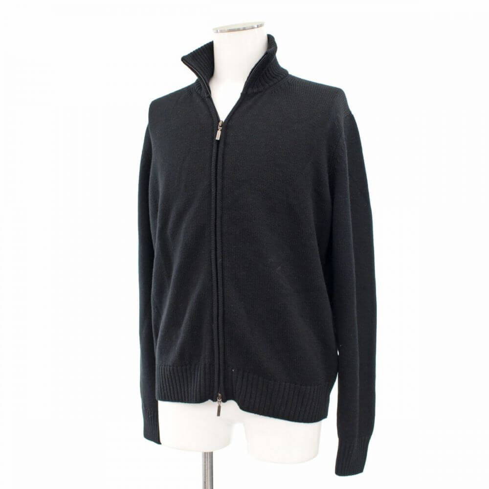 ジップアップセーター/ウール100%