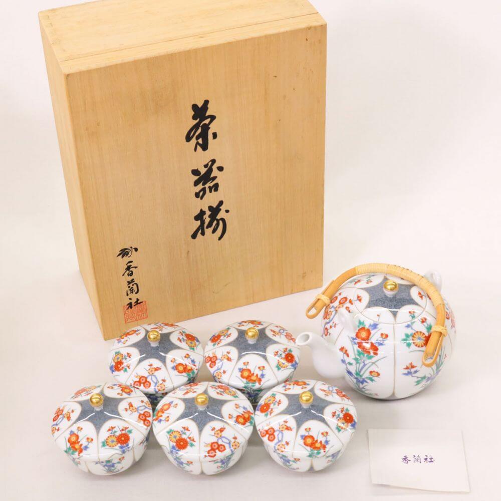茶器セット/菊牡丹 有田焼 色絵磁器
