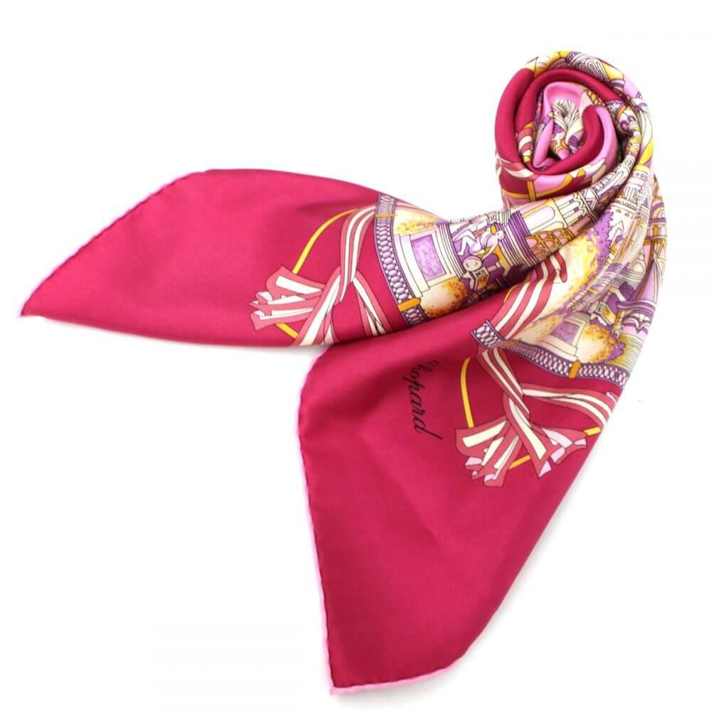 スカーフ/総柄/シルク100%/ピンク