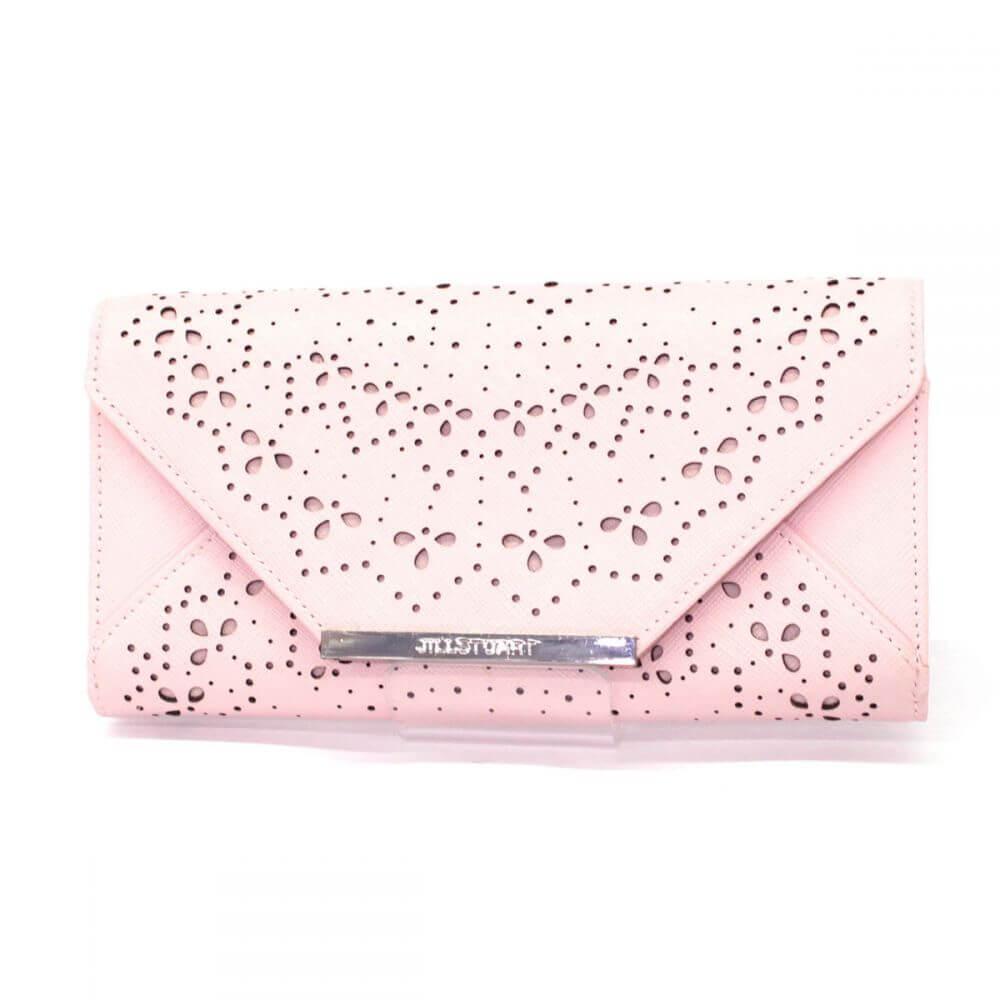 二つ折り長財布/カットワーク/レザー/ピンク
