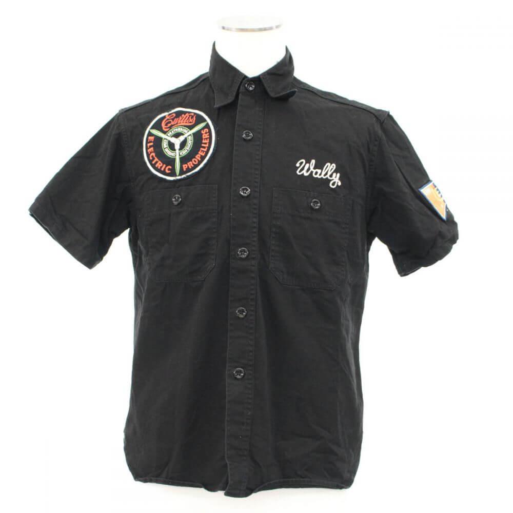 刺繍入り半袖シャツ/ワッペン付き/ブラック