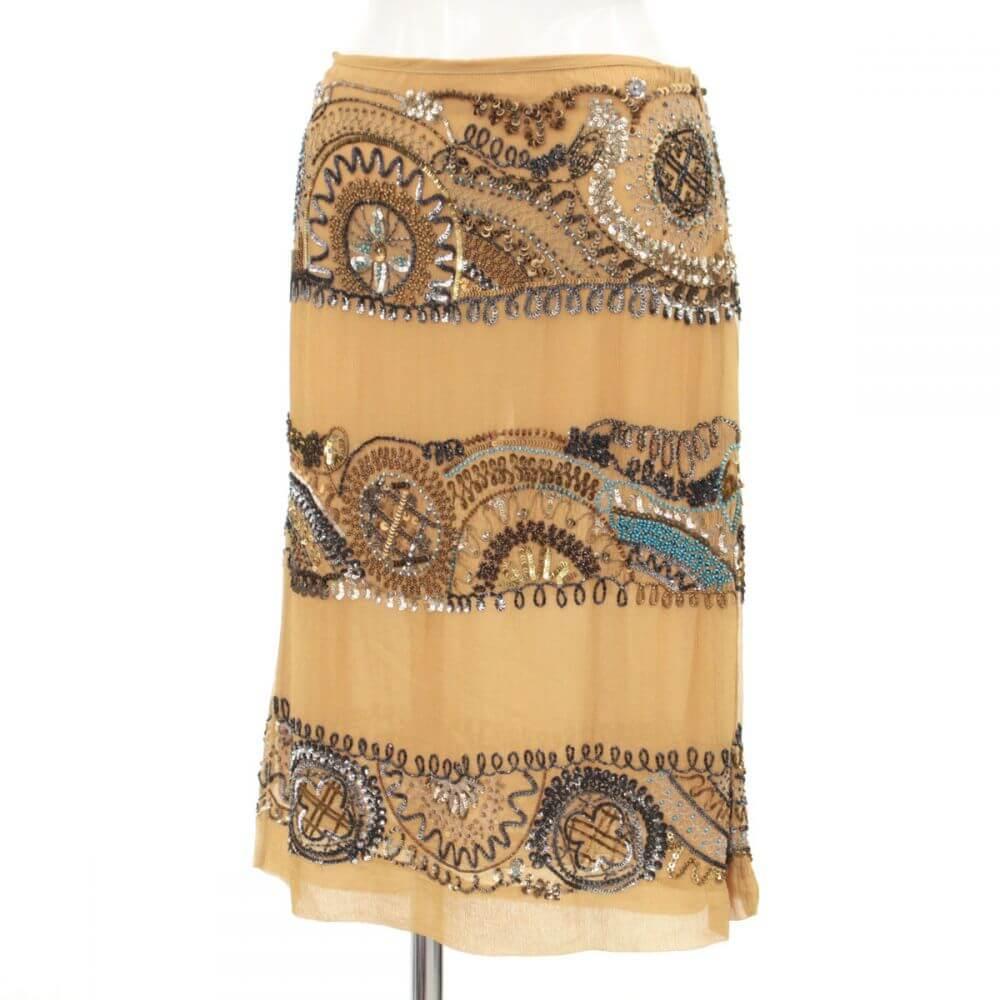 豪華ビーズ刺繍スカート/シルク100%/所々ツレ