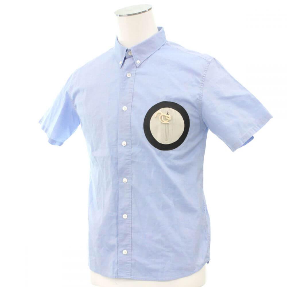 ポケット付半袖シャツ/ブルー