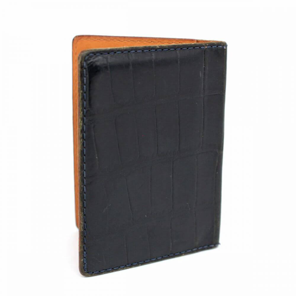 カードケース/クロコ型押しレザー/ブラック