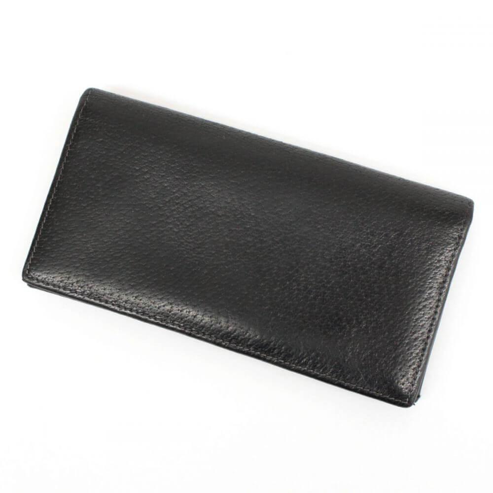 二つ折り長財布/レザー/ブラック