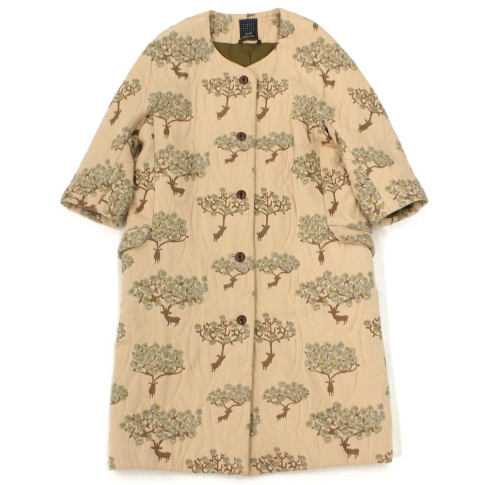bloom 刺繍生地ノーカラーコート
