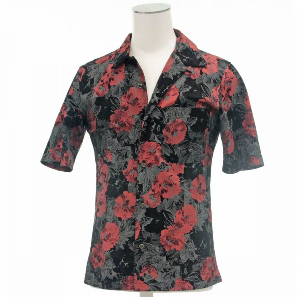 半袖レザーシャツ/花柄プリント