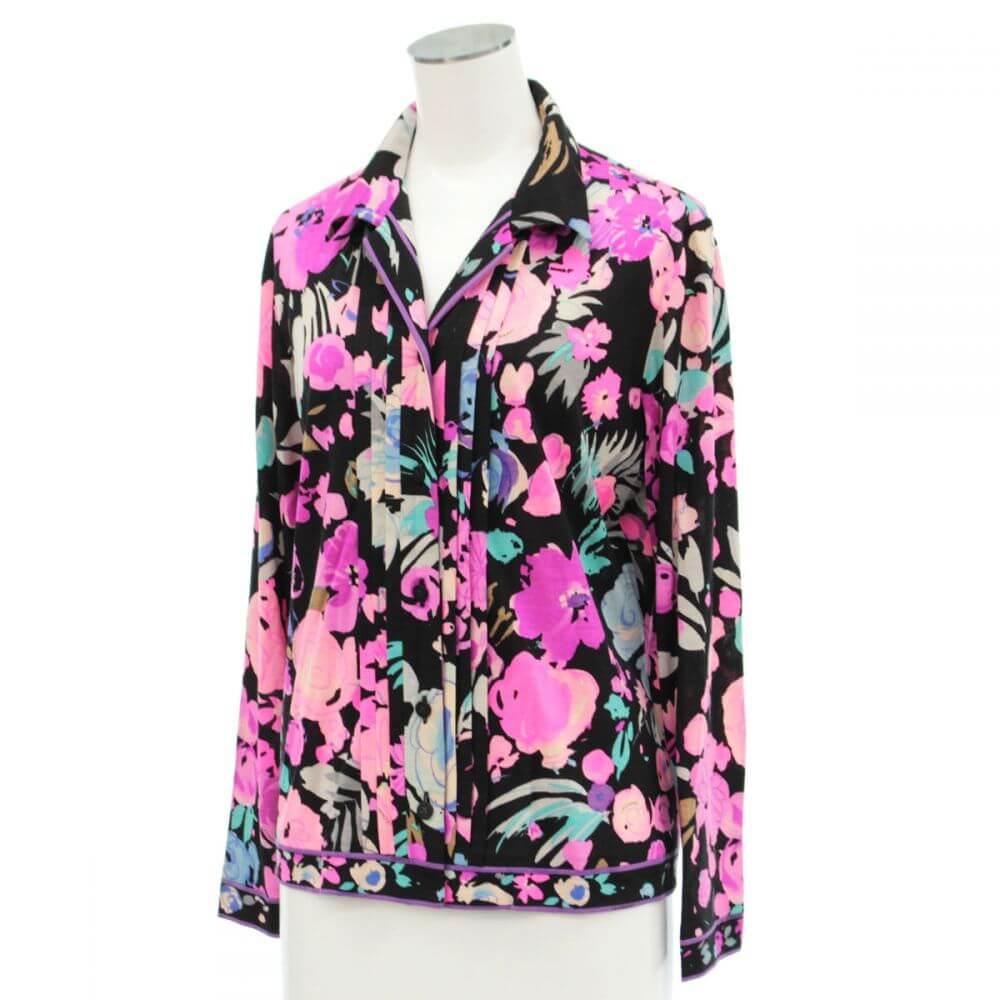 総花柄長袖シャツ