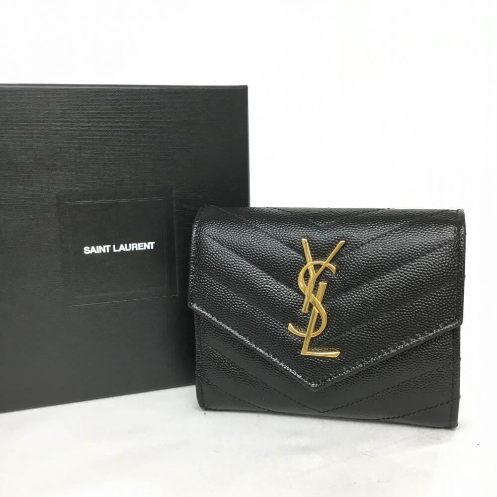 二つ折り財布/YSLロゴ/レザー/ブラック